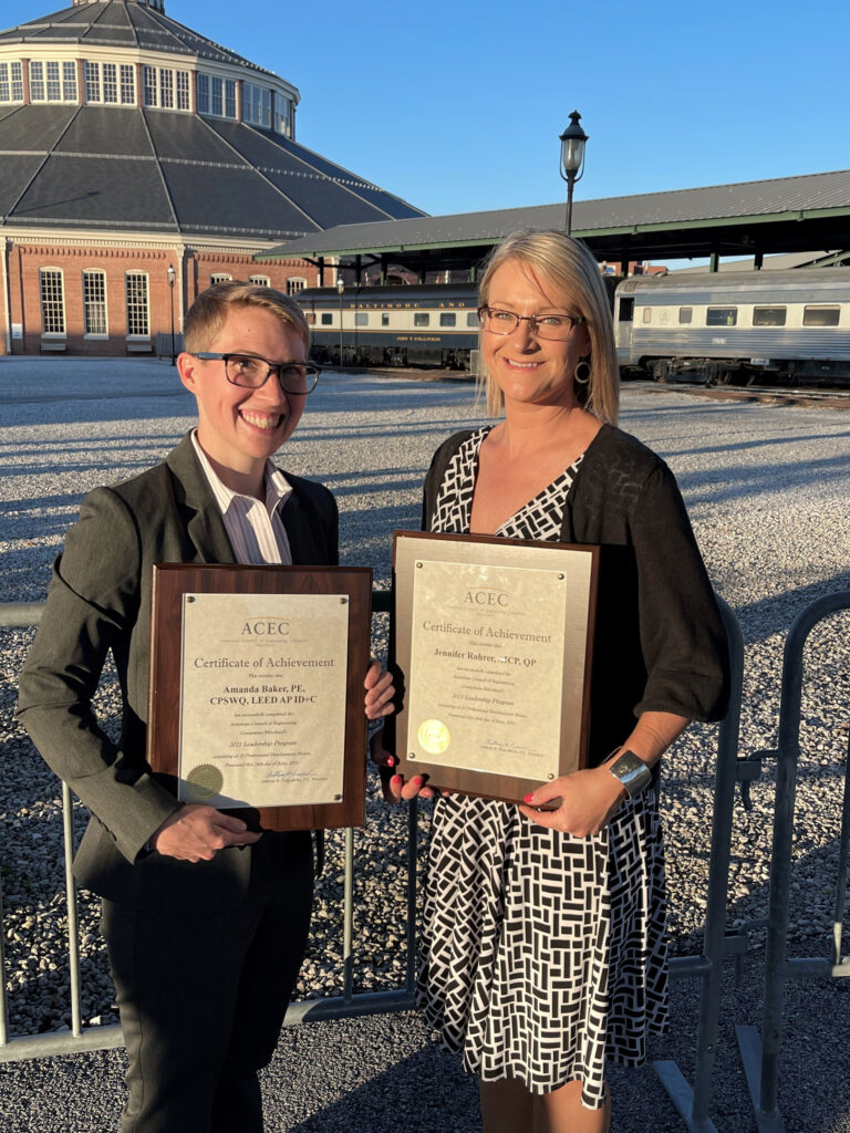 Amanda Baker (Left) and Jennifer Rohrer (Right) displaying the ACEC/MD Leadership Class